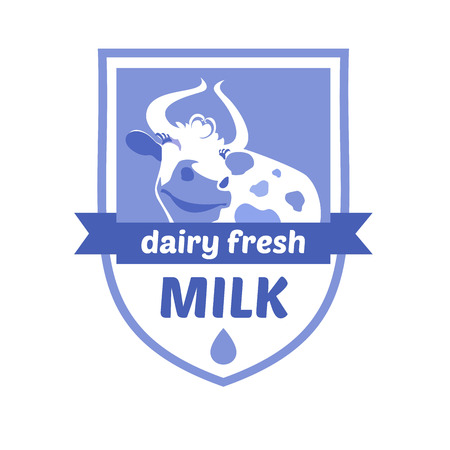 skim: Vector with the image of a cow. Milk and milk products, ice cream. Blue background, heraldic style.
