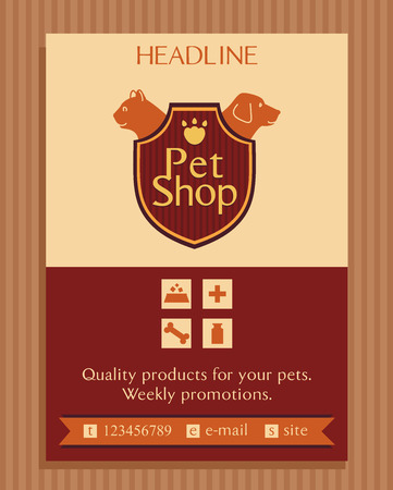 shop for animals: Vector for a pet store in heraldic style. Accessories for pets. Dog and cat. Brochure, Flyer design vector template in A4 size. Advertise store for pets. Icons for pet shop Illustration
