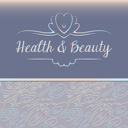 Vector que representa conchas y perlas. Salud y belleza. Modelo del fondo con los elementos florales y marinos. El cuidado del cuerpo y la cara, la higiene.