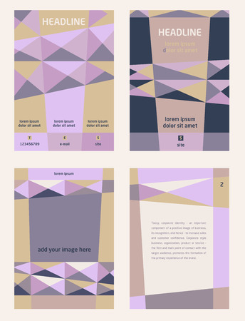 Set of corporate templates for catalogs, brochures, flyers series. Space for image and text. Geometrichnsky pattern of tregolnikov, pyramids. Shades of purple, blue and beige.