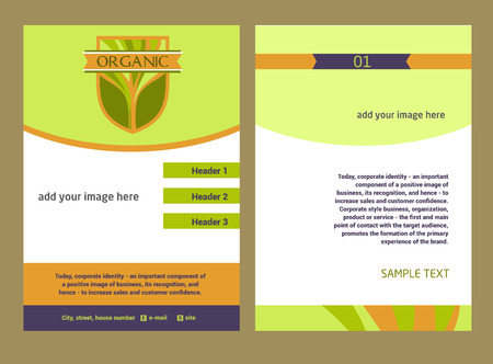 image size: Brochure Flyer design vector template in A4 size. Design with the image of a tree, eco-friendly products. Growth and development.