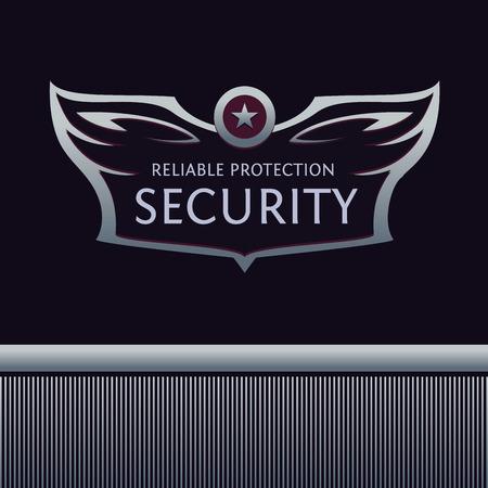 guardia de seguridad: Plantilla editable para la organizaci�n de seguridad. Her�ldico con alas, estrella. Vectores