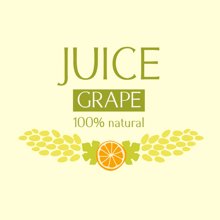 grape juice: Editable label template or icon for fruit juice. Grape juice and wine.