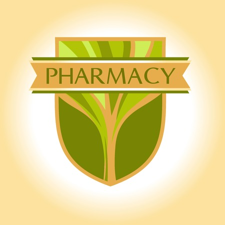 longevity drugs: icon with the image of a tree, heraldic shields and ribbons. Shades of green and gold. Symbol of good health and longevity. Drugs based on natural ingredients.