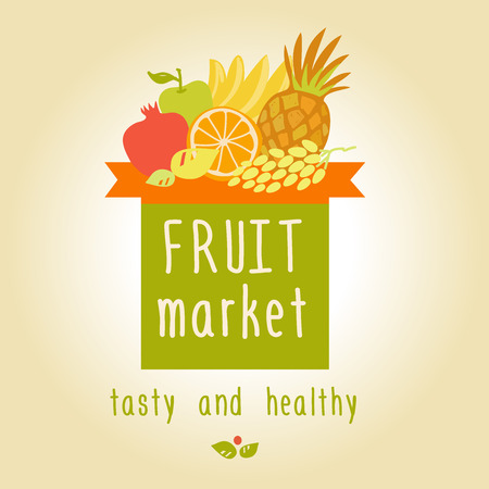 Vector logo for a market of fruits, fruit juice labels. Guaranteed quality and fresh fruit. Vector