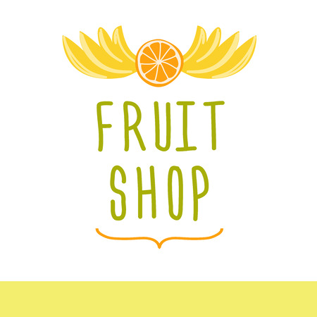 Vector icon for a market of fruits, fruit juice labels.Fresh fruit.