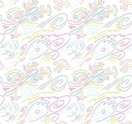 Seamless background with a pattern of flowers, waves and shells. Linear pattern. White background with colored lines