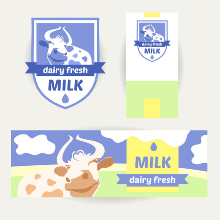 skim: Fresh farm products. Happy cow on meadow. Editable banner. Rustic natural products. Agricultural.A set of promotional items for dairy products. Illustration