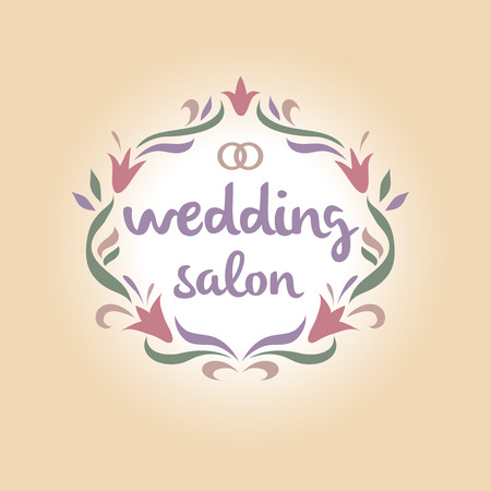 wedding accessories: Vector icon for a bridal salon, wedding bouquets. Wedding rings. Vintage. Illustration
