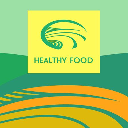 background image: Imagen de fondo Vector icono y con verdes prados, campos, cielo azul. Producto natural. Cultivadas bajo condiciones naturales.