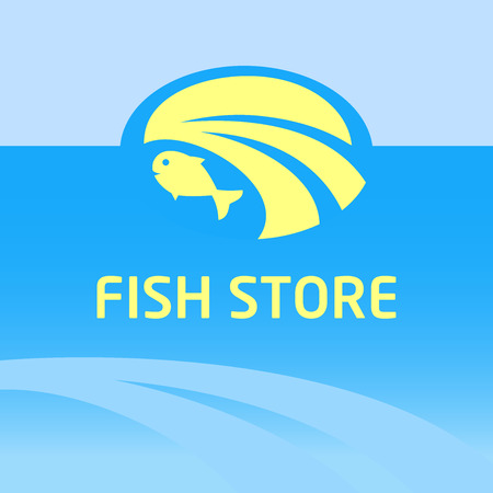 Vector icon and background with the image of water, the sea and fish. The emblem for the fish market, shops, restaurants. Vector