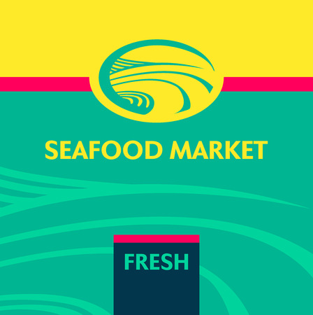 oceanside: Vector icon and background with the image of the sea poberzhe. Emblem, a label for the fish market, canned fish factory.