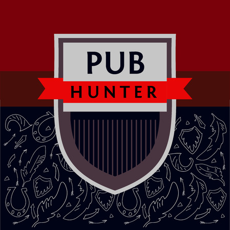 battles: Pattern vector logo for a bar, a pub on the subject of hunting, military battles