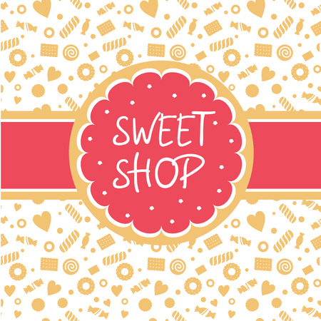 Sweet shop. Vector icon with the image of cake, biscuits round shape tape. Background depicting confectionery. White, pink, sand shades Vettoriali