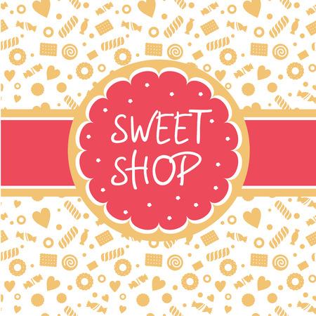 postres: Tienda de dulces. Vector icono con la imagen de la torta, galletas cinta forma redonda. Fondo que representa la confiter�a. Blanco, rosa, tonos arena