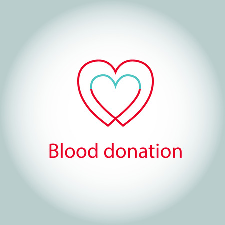 communicating: Vector icon blood donation. Two hearts as communicating vessels. Save a life Illustration