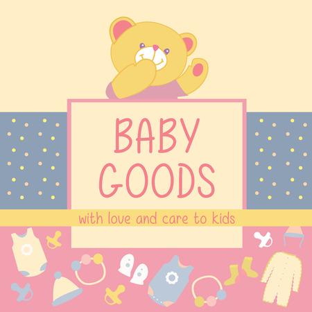 fondo para bebe: Vector de fondo con productos icono para beb�s. Publicidad de productos para beb�s. Oso de peluche Vectores