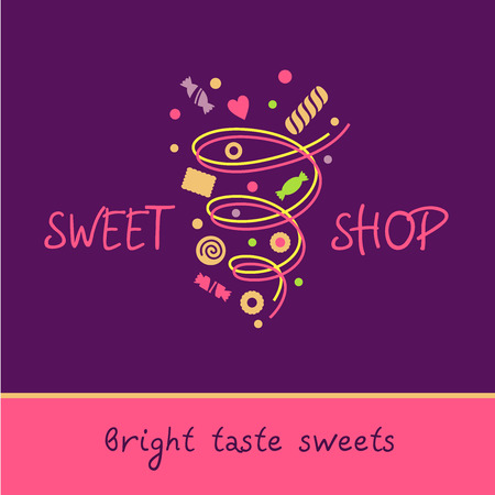food shop: Sweet shop. Bright taste of sweets. Vector icon with the image of a vortex of sweets, biscuits, sweets. Purple, pink color Illustration