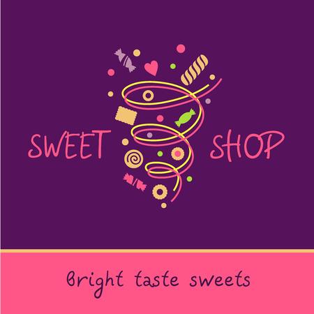 sweet shop: Tienda de dulces. Sabor brillante de dulces. Vector icono con la imagen de un v�rtice de dulces, galletas, dulces. P�rpura, color de rosa