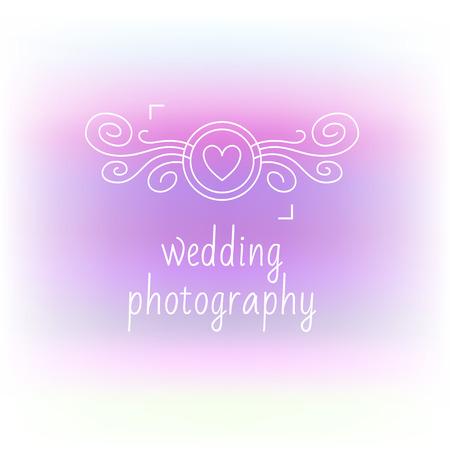 wedding photography: Romantic icon with the image curls camera. Contour plots. Wedding photography, wedding photo studio. Blurred background.