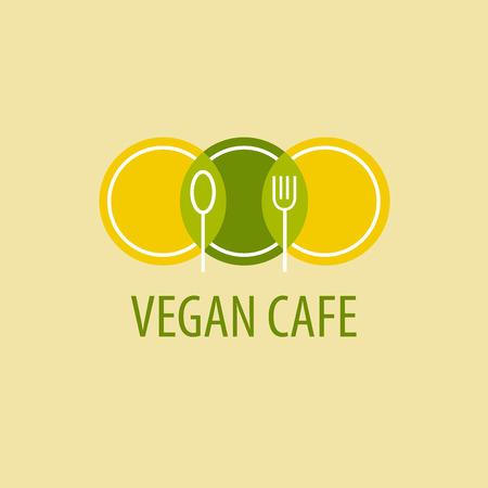 cuchara: Icono Plantilla café vegetariano. Imagen de platos, cucharas y tenedores en un fondo de color verde amarillo Vectores