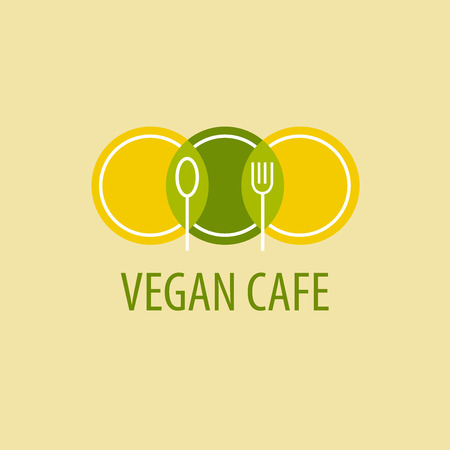 Template icon vegetarian cafe. Image of plates, spoons and forks on a yellow-green background