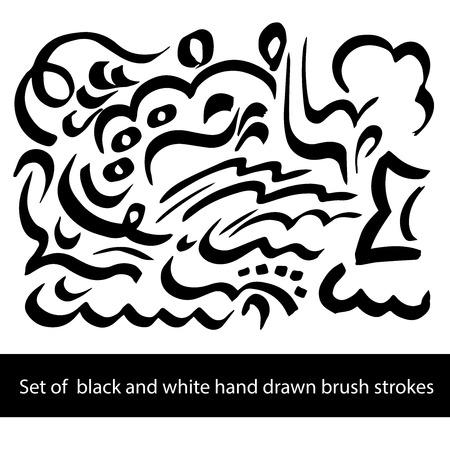 painterly effect: Set of black and white brush strockes