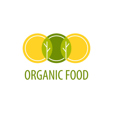 organic: Vector template icon. Organic Food. Image of three circles that resemble plates, at their intersection trees and leaves. Shades of yellow and green. Illustration