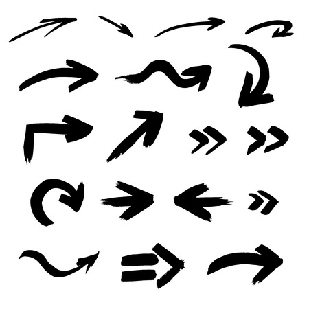 Set of arrows, symbols, hand-drawn. vector brush stroke
