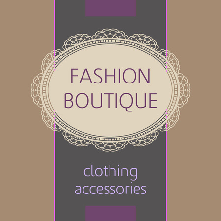 fashion story: Template icon for clothing stores, accessories. Signboard. Vintage style. Vintage background and delicate icon