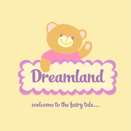 the land of menu: Template logo labels for sweets, children cafe. Bear and cookies. Welcome to the story. Illustration