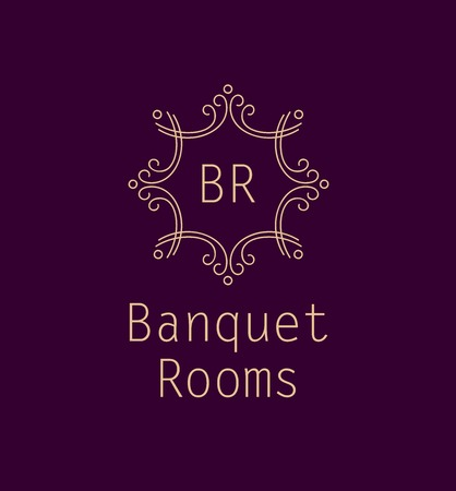 Template logo for the banquet hall. Catering and restaurant. Monogram. Vintage style. Burgundy color.