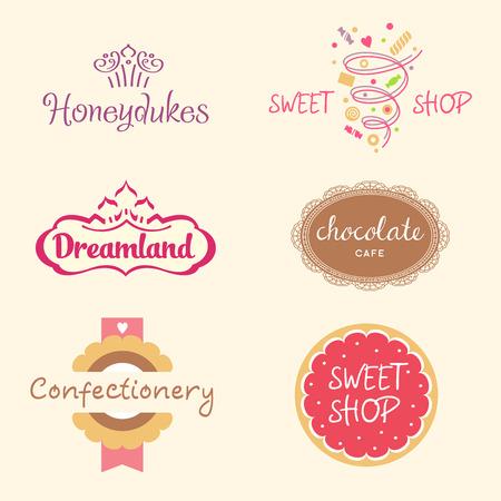 galletas: Conjunto de modelos de iconos para confiter�a, panader�a. Tienda de dulces. Caramelo y galletas. , Estilo festivo brillante. Vectores