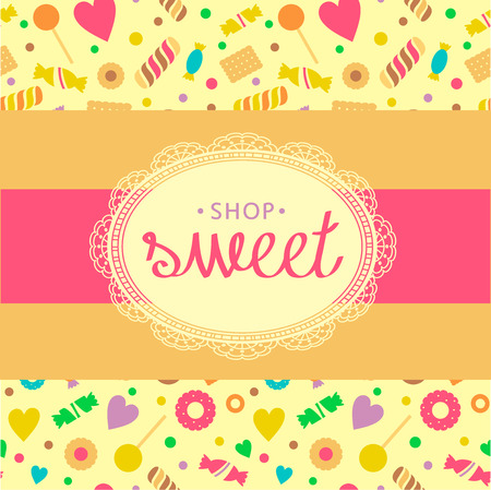 Template icon for candy store. Candy and cookies. Bright, festive style. Background from cookies and chocolates. Illustration