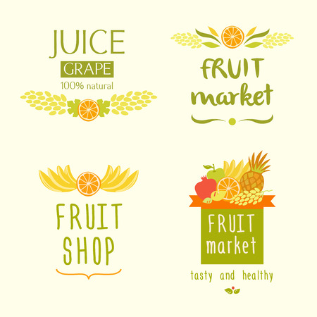 pineapple juice: Set vector icon for a store of fruits, fruit juice labels. Guaranteed quality and fresh fruit. Juise label