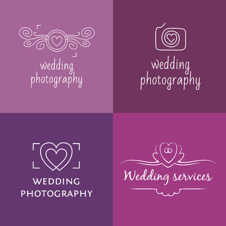 mono color: Set of templates vector icon for wedding photography.
