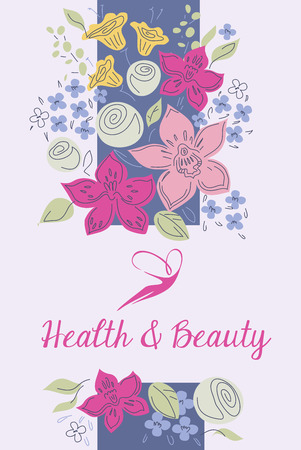 health beauty: Vector template icon beauty salon, spa.The figure of a woman. Background with floral border