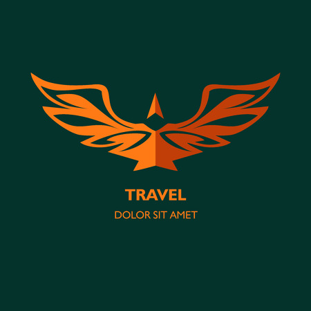 air power: icon template for travel agency, air carrier. Demontstration of reliability, professionalism. Image of an eagle with spread wings, arrow, sets up divzhenie. Strength, power, safe.