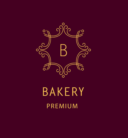 Template icon for the bakery. Monogram and Vintage style.