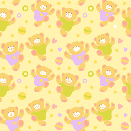 Seamless Illustration.  Vector background with teddy bear.
