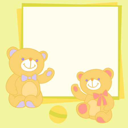 Vector background with teddy bear. Vector templates with place for your images and text Vector