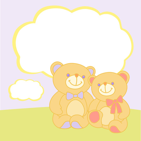 Vector illustration. Two bears sitting or standing in an embrace. Cloud for the text. Vector