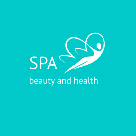 Pattern vector logo for spa, beauty and relaxation treatments. Woman butterfly. Beauty and health.