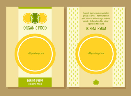 Brochure Flyer design vector template in A4 size. Yellow and green abstract background.Organic food