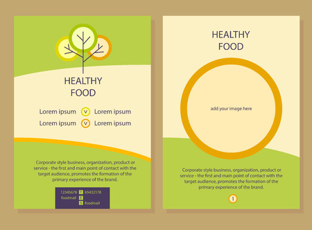 background cover: Brochure Flyer design vector template in A4 size. The icon with the image tree and plate. Healthy food. Illustration
