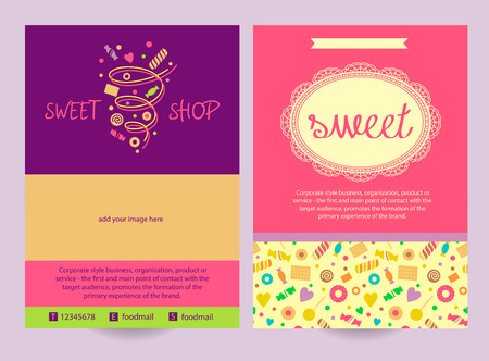 image size: Brochure flyer design vector template in A4 size. Sweet. Vector logo with the image of a vortex of sweets, biscuits, sweets.