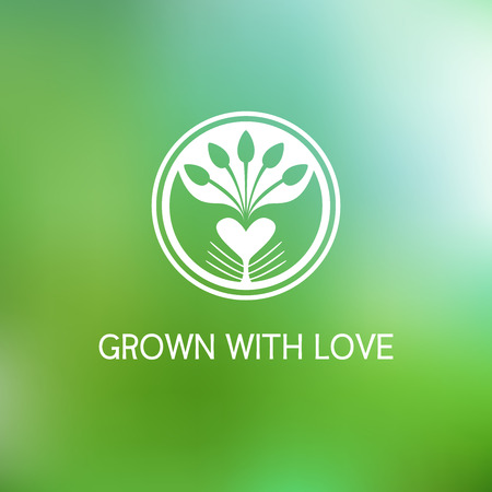 care: Grown with love. Vector template icon Farm products. Growing plants and seedlings. Planted in the ground sprouts, care and care of plants. Care and protection of the environment.