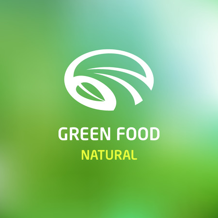 Pattern vector logo with the image field, road and leaf. Green food. Blurred background. Green and white. Vector