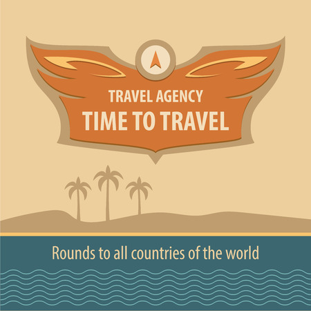 solidity: Template vector logo. Time to travel. Travel Agency in vintage style. Background on the topic of travel. Reliability, solidity of the company.