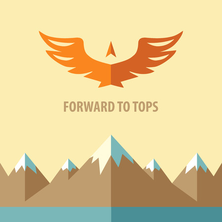 conquest: Template vector logo. Forward to tops.Tourism, mountain climbing. Background on the topic of travel, the conquest of peaks and heights. Illustration